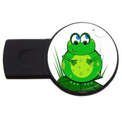 Green Frog Usb Flash Drive Round (4 Gb)  by Valentinaart