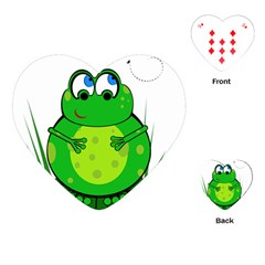 Green Frog Playing Cards (heart)  by Valentinaart