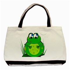 Green Frog Basic Tote Bag by Valentinaart