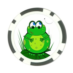 Green Frog Poker Chip Card Guards by Valentinaart