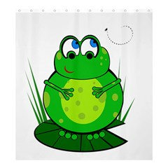Green Frog Shower Curtain 66  X 72  (large)  by Valentinaart