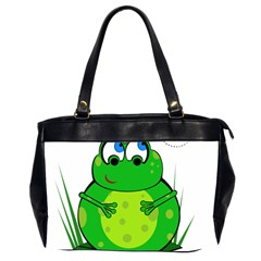 Green Frog Office Handbags (2 Sides)  by Valentinaart