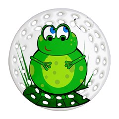 Green Frog Round Filigree Ornament (2side) by Valentinaart