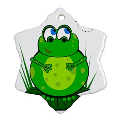 Green Frog Snowflake Ornament (2-side) by Valentinaart