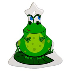 Green Frog Christmas Tree Ornament (2 Sides) by Valentinaart