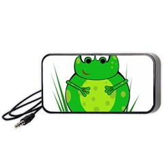 Green Frog Portable Speaker (black)  by Valentinaart