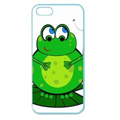 Green Frog Apple Seamless Iphone 5 Case (color) by Valentinaart