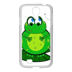 Green Frog Samsung Galaxy S4 I9500/ I9505 Case (white) by Valentinaart