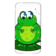 Green Frog Samsung Galaxy S5 Back Case (white) by Valentinaart