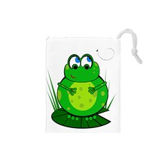 Green Frog Drawstring Pouches (small)  by Valentinaart