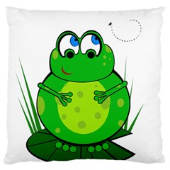Green Frog Large Flano Cushion Case (one Side) by Valentinaart