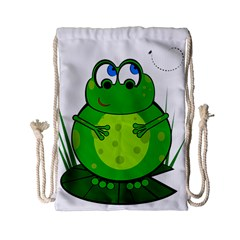 Green Frog Drawstring Bag (small) by Valentinaart