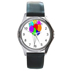 Colorful Balloons Round Metal Watch by Valentinaart