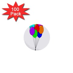 Colorful Balloons 1  Mini Buttons (100 Pack)  by Valentinaart