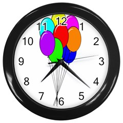 Colorful Balloons Wall Clocks (black) by Valentinaart