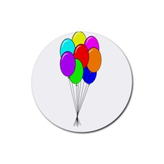 Colorful Balloons Rubber Coaster (round)  by Valentinaart