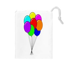 Colorful Balloons Drawstring Pouches (large)  by Valentinaart