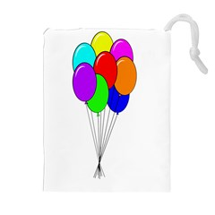 Colorful Balloons Drawstring Pouches (extra Large) by Valentinaart