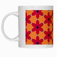 Red Flowers Pattern                                                                            White Mug by LalyLauraFLM