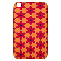 Red Flowers Pattern                                                                            			samsung Galaxy Tab 3 (8 ) T3100 Hardshell Case by LalyLauraFLM