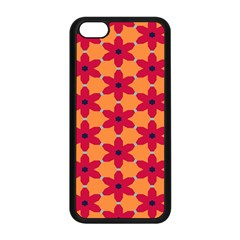 Red Flowers Pattern                                                                            			apple Iphone 5c Seamless Case (black) by LalyLauraFLM