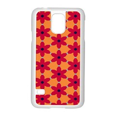 Red Flowers Pattern                                                                            			samsung Galaxy S5 Case (white) by LalyLauraFLM