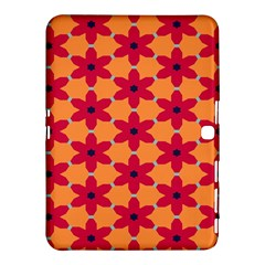 Red Flowers Pattern                                                                            			samsung Galaxy Tab 4 (10 1 ) Hardshell Case by LalyLauraFLM