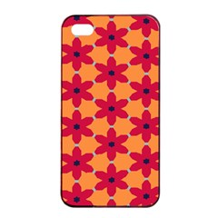 Red Flowers Pattern                                                                            			apple Iphone 4/4s Seamless Case (black) by LalyLauraFLM