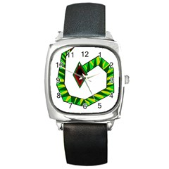 Decorative Snake Square Metal Watch by Valentinaart