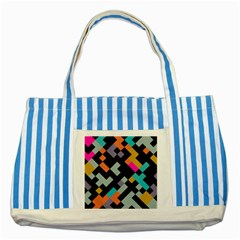 Connected Shapes                                                                             			striped Blue Tote Bag by LalyLauraFLM