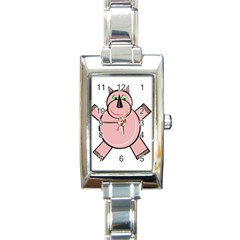 Pink Rhino Rectangle Italian Charm Watch by Valentinaart