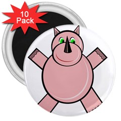 Pink Rhino 3  Magnets (10 Pack)  by Valentinaart