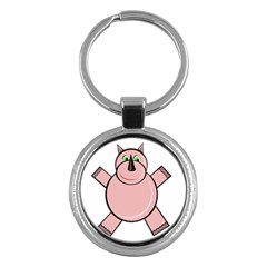 Pink Rhino Key Chains (round)  by Valentinaart