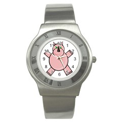 Pink Rhino Stainless Steel Watch by Valentinaart