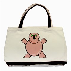 Pink Rhino Basic Tote Bag (two Sides) by Valentinaart