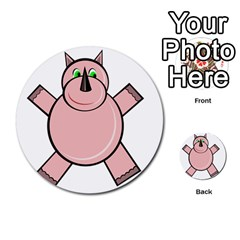 Pink Rhino Multi Purpose Cards (round)  by Valentinaart