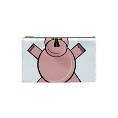 Pink Rhino Cosmetic Bag (small)  by Valentinaart
