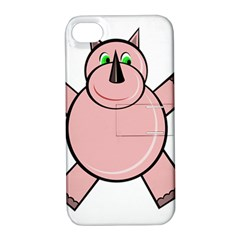 Pink Rhino Apple Iphone 4/4s Hardshell Case With Stand by Valentinaart
