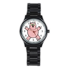 Pink Rhino Stainless Steel Round Watch by Valentinaart