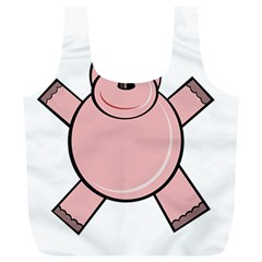 Pink Rhino Full Print Recycle Bags (l)  by Valentinaart