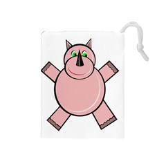 Pink Rhino Drawstring Pouches (medium)  by Valentinaart
