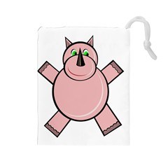 Pink Rhino Drawstring Pouches (large)  by Valentinaart
