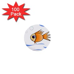 Cute Fish 1  Mini Buttons (100 Pack)  by Valentinaart