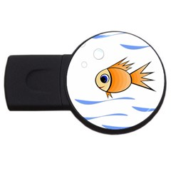 Cute Fish Usb Flash Drive Round (4 Gb)  by Valentinaart
