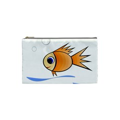 Cute Fish Cosmetic Bag (small)  by Valentinaart