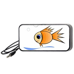 Cute Fish Portable Speaker (black)  by Valentinaart