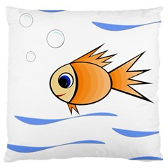 Cute Fish Large Cushion Case (one Side) by Valentinaart