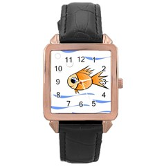Cute Fish Rose Gold Leather Watch  by Valentinaart