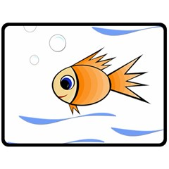 Cute Fish Double Sided Fleece Blanket (large)  by Valentinaart