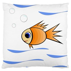 Cute Fish Large Flano Cushion Case (two Sides) by Valentinaart